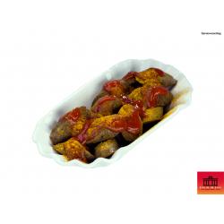 Vegane Currywurst im Glas (Serviervorschlag)